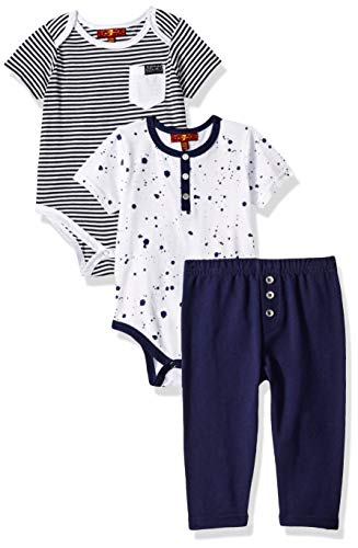 7 For All Mankind Kids Baby Boys 3 Piece Bodysuit and French Terry Pant Set, Dress Blue Stripe 0-3 Months
