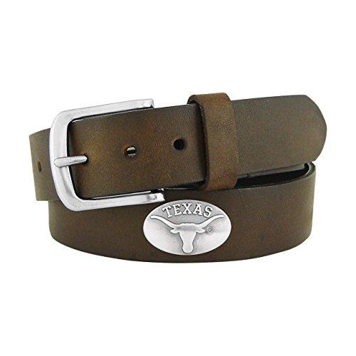 NCAA Texas Longhorns Brown Leather Concho Belt, (Texas Longhorns Belt)