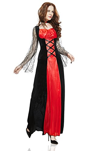 Costume Vampira Sexi (Adult Women Vampire Costume Halloween Cosplay Role Play Night Bat Demon Dress Up (Small/Medium, Black,)