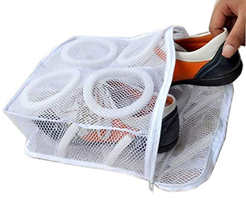Rustless Zipper Mesh Shoes Wash Bag Washing Or Drying Womens Gym Shoe,Sneaker Trainers Footwear Durable Padded Net Laundry Storage Pouch Organizer Underwear,Bra,Lingerie,Socks Camping Gear Square