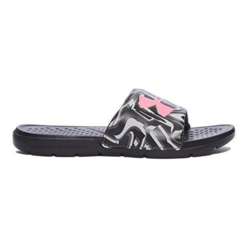 Under Armour Girls' Strike Stripe Slides Sandal, Black, 4 M US Big Kid (Black Under Armour Youth Shoes)