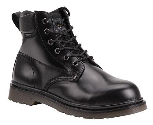 Fw28 En Et Chaussures Anti Noir bottes Acier6 Cuir Sécurité Avec D'air Embout dérapantes Coussin De Uk jLzVpMqGSU