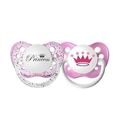- Ulubulu Expression Pacifier Set for Girls, Princess and Crown, 6-18 Months