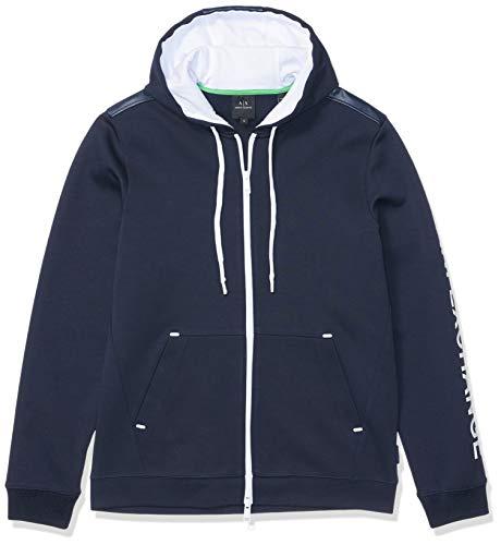 A X Armani Exchange Men's Solid Colored Zip up Sweatshirt, Navy, ()