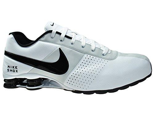 Nike Mens Shox Leverera Vit / Svart / Ren Platina Läder Kors Utbildare Skor  9 M
