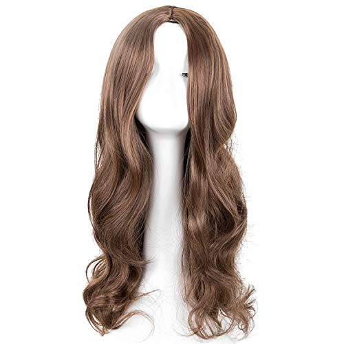 Cosplay Wig can't be satisfied Synthetic Long Curly Middle Part Line Blonde Women Hair Costume Carnival Halloween Party Salon Hairpiece,1B/30HL,26inches -