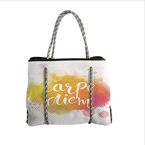iPrint Neoprene Multipurpose Beach Bag Tote Bags,Yellow and White,Watercolor Style with Carpe Diem Seize The Day Enjoy The Moment Decorative,Yellow Marigold Pink,Women Casual Handbag Tote Bags