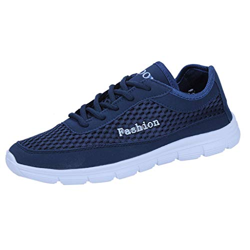 (Breathable Sneaker Women Men,Mosunx Athletic 【Couple Mesh Lightweight Shoelaces】Four Season Flat Casual Sport Running Walking Basketball Shoes (6 M US, Blue))