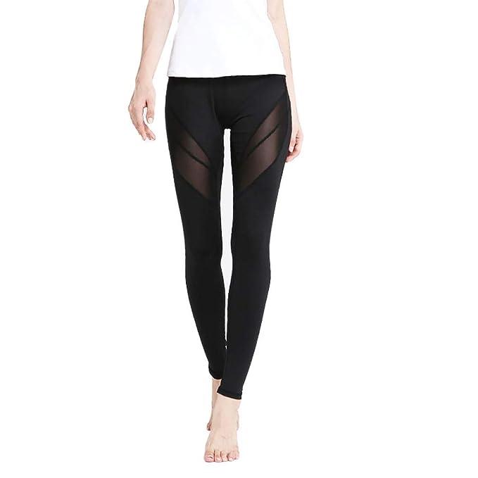 TECHMOO Women Yoga Pants Breathable Mesh Yoga Fitness Leggings Compression Training Workout Pants Yoga Capris