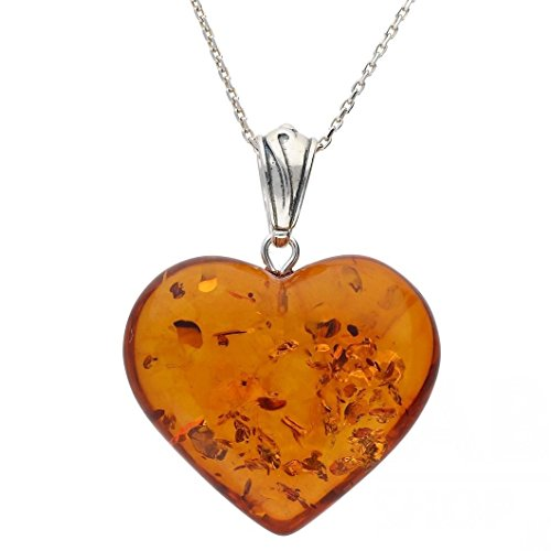 COGNAC BALTIC AMBER STERLING SILVER 925 BEAUTY HEART PENDANT