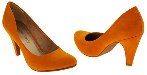 Tozzi Marco suède Faux Femmes chaussures Orange talons court moyen 4T5nqPBdw