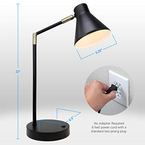 O'Bright LED Desk Lamp with USB Charging Port, 100% Metal Lamp, 270° Flexible Swivel Arms, Soft White LED Reading Light (3000K), Bedside Reading Lamp, Office Lamp, Table Lamp, ETL Listed, Black by O'Bright (Image #4)