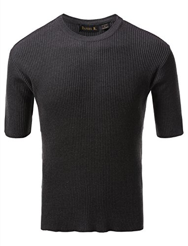 7 Encounter Men's Crewneck Short Sleeve Small Ribbed Sweater Pewter XL ()