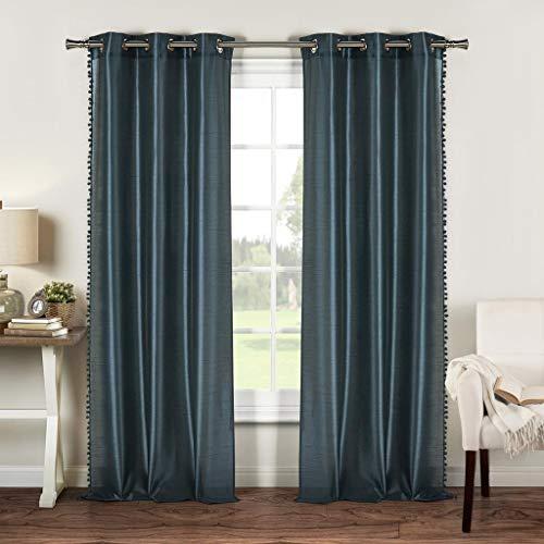- Duck River Textile Bali Faux Silk Grommet Top Window Curtain 2 Panel Drape, 54 x 96, Peacock Blue