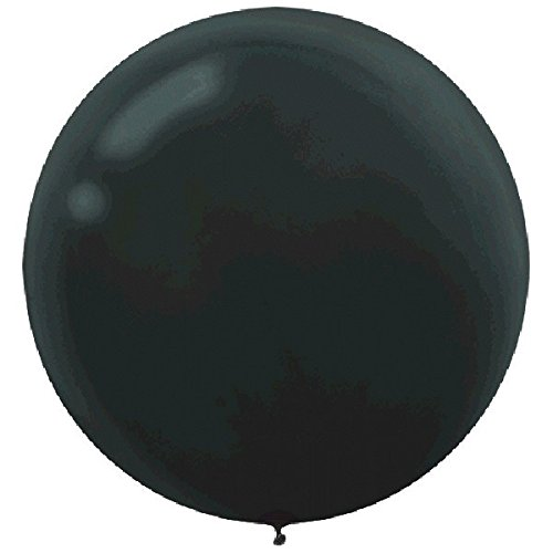 (Round Latex Balloons | Black | Pack of 4 | Party)