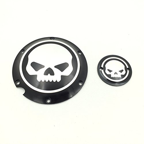 Timer Cover (XKMT-Motorcycle Black Chrome Skull Engine Derby Timer Cover For For Harley Davidson XL1200C Sportster 883 XL 1200X Forty-Eight Seventy Two Roadster Iron)