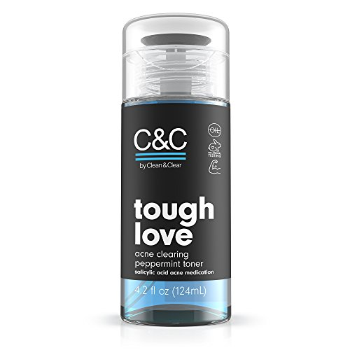 C&C by Clean & Clear Tough Love Acne Clearing Peppermint Facial Toner, With Glycerin and Salicylic Acid, Oil-free Toner for Oil Prone Skin, Not Tested on Animals, 4.2 fl. oz. (Best Facial Toner For Acne Prone Skin)
