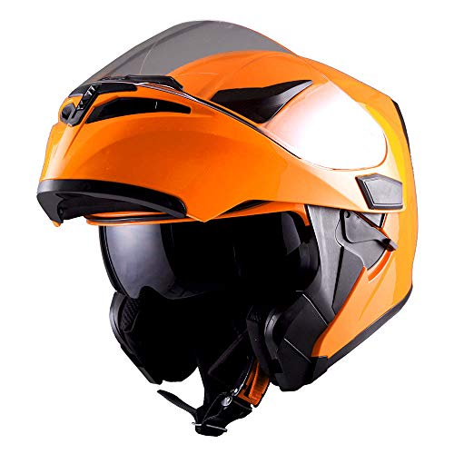 1Storm Motorcycle Modular Full Face Helmet Flip up Dual Visor Sun Shield: HB89 Glossy Orange (Best Full Face Helmet For The Money)