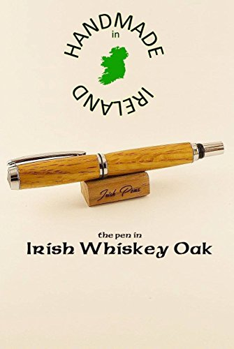 Irish whiskey oak wooden fountain pen FREE note in the pen case lid personalize the desk stand Irish gift handmade in Ireland Forest range of gifts writers love best pen for smooth writing