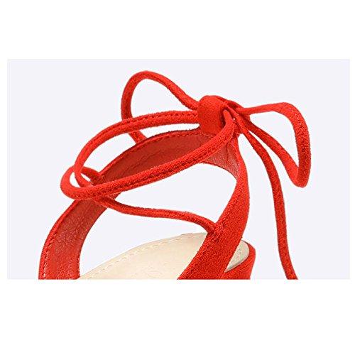 Mujer Único Pie Digno Tacones Red Zapatos De Vendaje Gamuza del Abierto Hilo Sandalias Altos Dedo Atractivo a4q8qUw5