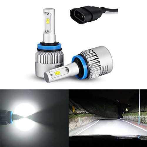 iBrightstar Newest 9-32V 8000 Lumens Xtremely Bright w/ High Power Y19 CSP Chips H8 H9 H11 LED Headlights Bulbs for Headlight, Fog Light, Xenon White(6500K) (Crystal Hyper White Bulbs)