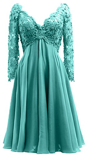 Mother Lace Long V Women Turquoise Bride Midi MACloth Neck Gown of Sleeve Dress Formal the qSzgxtTRWw