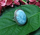 Larimar Ring, Blue Larimar Stone Sterling Silver Ring, Large larimar Ring, Larimar Jewelry, Boho Ring, Natural Larimar Ring, Healing Crystals, Dominican Larimar Gemstone Ring, Promise Ring, Gift Her