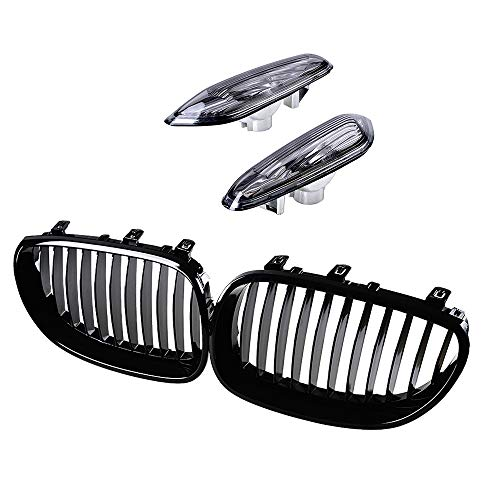 Front Glossy Black Wide Kidney Center Grille & Turn Signals Side Marker Light Smoke Lens Housing Compatible For 2004-2010 BMW E60 E61 5 Series 4-Door