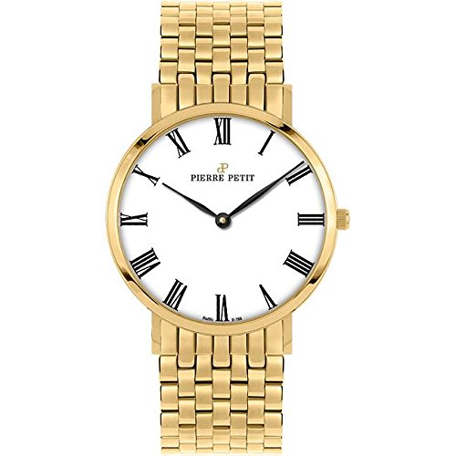 Pierre Petit Women's P-788H Serie Nizza Classic White Dial Yellow-Gold PVD Watch