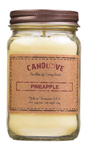 CANDLOVE Pineapple Scented Candle 16 Oz Mason Jar - 100% Soy - Made In The USA