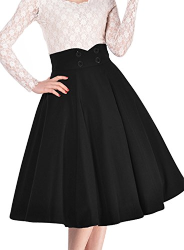 Miusol Women's Vintage High Waist A-line Retro Casual Swing Skirt, Black, Medium (A Line Skirts For Women)