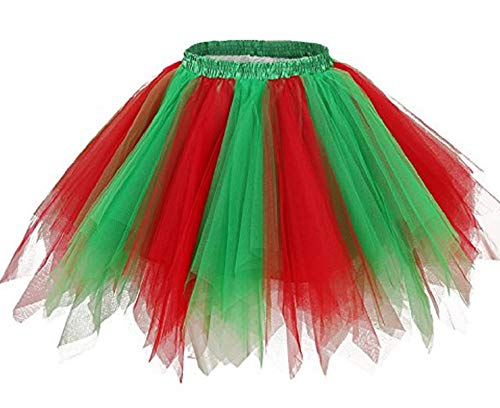 - Kileyi Womens Tutu Costume Adult Party Dance Tulle Skirt Short Fluffy Petticoat Green Red L