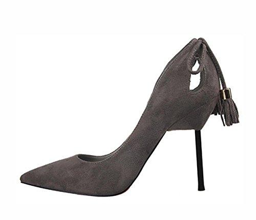 Die neuen Frau dünnen Wildleder hochhackigen Schuhe mit hohen Absätzen Anhänger Fersen , 39 , dark gray
