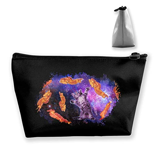 Cat Frying Bacon With Eye Laser Cosmetic Bags Portable Travel Makeup Pouch Toiletry Organizer