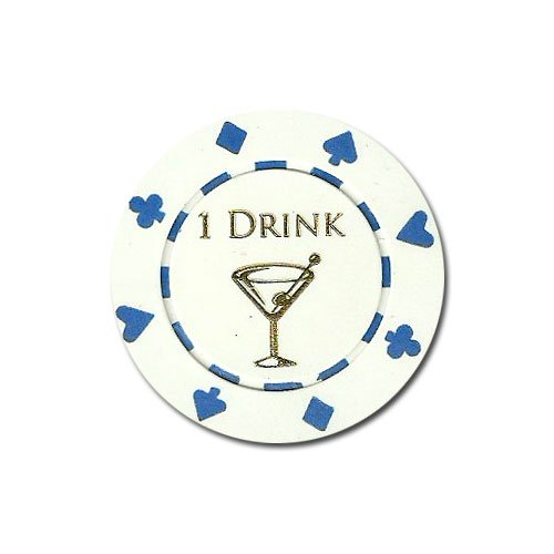Drink 25 Free Chips - ONE (1) Drink Poker Chip Button Marker Token - Set of 25!