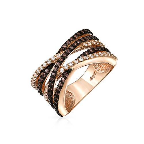 - Bling Jewelry Crossover Statement Criss Cross Two Tone Brown Coffee Pave AAA CZ Statement Band Ring for Women Rose Gold Plate Brass