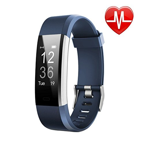 Tracker + Heart Rate Monitor,IP67 Waterproof Smart Wristband With Pedometer Watch for Android and Ios (blue) ()