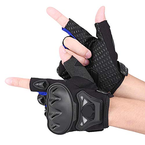 Keenso 1 Pair Half Finger Gloves, Motorcycle Half Finger Racing Riding Cycling Gloves Motorcross Outdoor Sports Armed Gloves Breathable Protective Gear Knight Gloves (M-Blue)