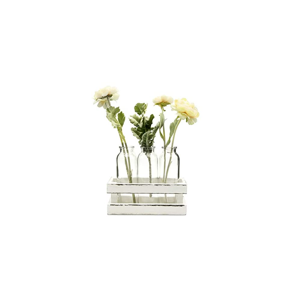Funsoba Small Glass Vases in Wood Rack Stand Window-Sill Display Set of 3 Crystal Clear Flower Vase Farmhouse Home…