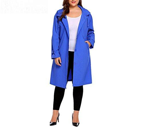 bd7f06c54 MRxcff Women's Trench Coat Plus Size Xl-5Xl Hoodie Windbreaker Solid  Pockets Button Lightweight Raincoat