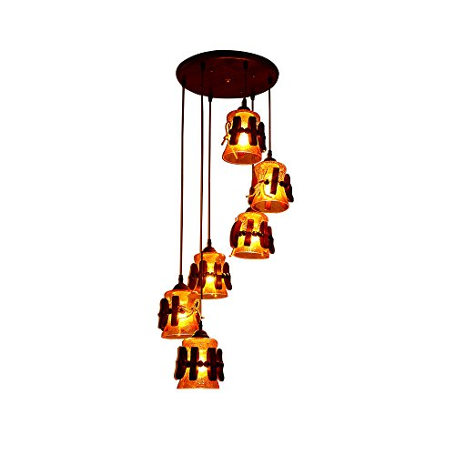 MGCHD European-style Retro Village Staircase Lobby Lights Club Lights Individual Creative Solid Wood Chandelier Size: High 1950mm A+ (Village Club)