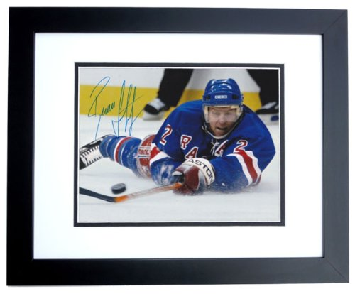 Brian Leetch Signed 8x10 Photo - Brian Leetch Signed - Autographed New York Rangers 8x10 inch Photo BLACK CUSTOM FRAME - Guaranteed to pass PSA or JSA