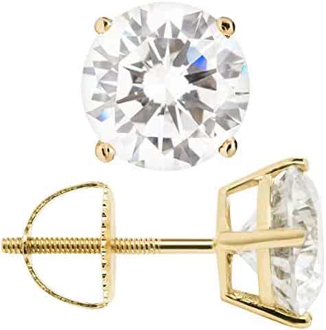 277db9d2d Everyday Elegance | 14K Solid Yellow Gold Stud Earrings | Round Cut Cubic  Zirconia | Screw