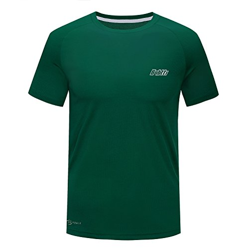 Guard Green T-shirt - Bpbtti Men's Running Cycling Short Sleeve Tec T-Shirt (X-Large, Bottle Green)