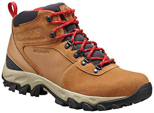Columbia Men's Newton Ridge Plus II Suede Waterproof Boot, Breathable with High-Traction Grip Hiking, elk, mountain red, 8.5 Regular US