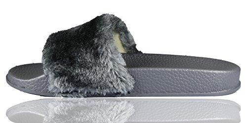 RoMaAn'S IDeal FaShIoN - Zapatillas de estar por casa de piel para mujer gris