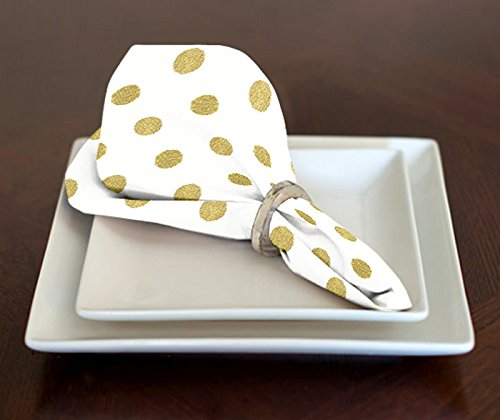 A LuxeHome White and Metallic Gold Modern Contemporary Polka Dot Lunch or Dinner Napkins 17