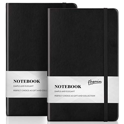 """Bullet Dotted Journal 2-Pack, Dot Grid Hardcover A5 Notebook with Inner Pocket, 5.3""""x 8.5"""", 120gsm Premium Thick Paper, Classic Smooth Leather Cover for Gift by Kogain (Creme Paper)"""