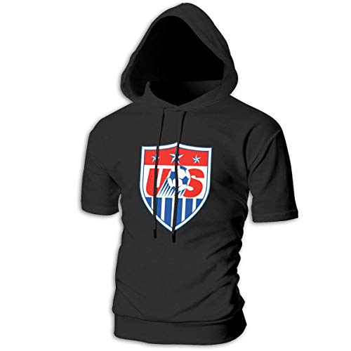 ZOE-SHOP US Soccer Mens Hipster Hip Hop Short Sleeve Longline Pullover Hoodies Shirts -