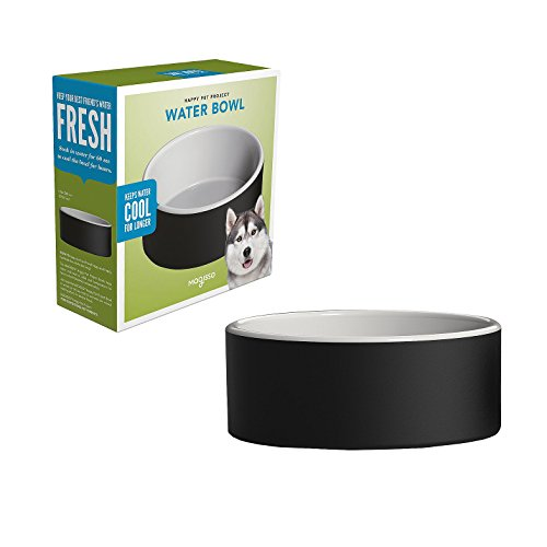 Magisso Happy Pet Project Naturally Cooling Ceramics Water Bowl #90100 (Black, 8 Inch)